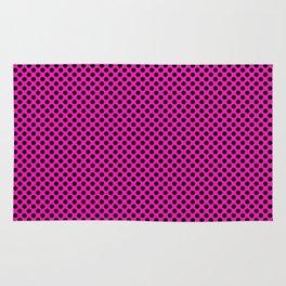 Shocking Pink and Black Polka Dots Rug