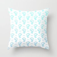 dolphins Throw Pillows featuring Dolphins by Lizzy Watkins