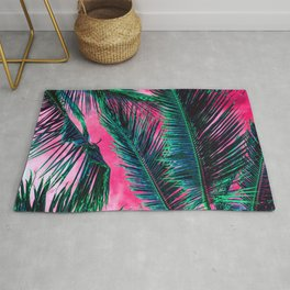 Tropical Summer Pink White Gradient Sky Teal green Palm Tree Leaves Rug