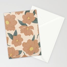 Warm peachy magnolias pattern Stationery Cards
