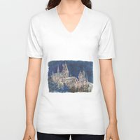 hogwarts V-neck T-shirts featuring Hogwarts Painting  by Christina Brunnock