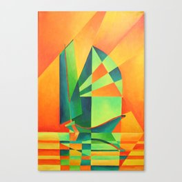 Chinese Junk Sails at Sunrise Canvas Print
