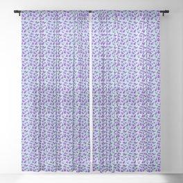 leopard Kitty - aqua purple Sheer Curtain