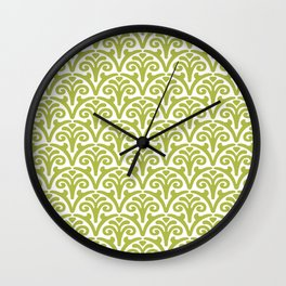 Floral Scallop Pattern Chartreuse Wall Clock