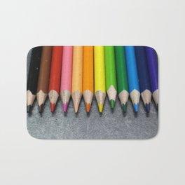 A Row of Colored Pencils. Bath Mat
