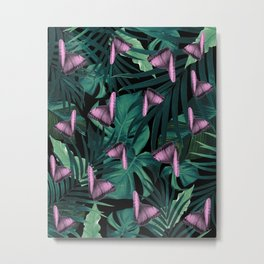 Tropical Butterfly Jungle Night Leaves Pattern #1 #tropical #decor #art #society6 Metal Print