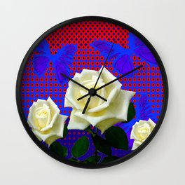 ROSES BLUE BUTTERFLIES RED OPTIC ART Wall Clock