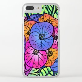 Colourful Flowers and Leaves Clear iPhone Case
