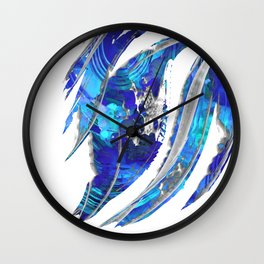 Blue and White Abstract Art - Flowing 2 - Sharon Cummings Wall Clock