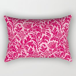 William Morris Thistle Damask, Fuchsia Pink Rectangular Pillow