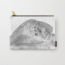 A Green Sea Turtle :: Grayscale Carry-All Pouch
