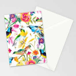 Birds Colourful Floral Motif Pattern Tropical decor Spring Flowers Stationery Cards