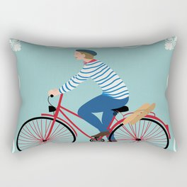 Vintage Style Frenchman on a Bicycle with Baguette Art Print Rectangular Pillow