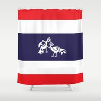 thailand Shower Curtains featuring Thailand Flag, Roosters Sparring by mailboxdisco