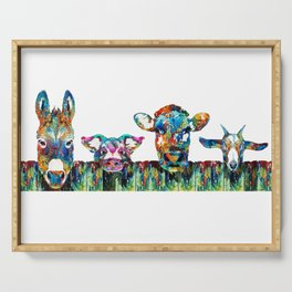 Over The Fence - Colorful Farm Animals - Sharon Cummings Serving Tray