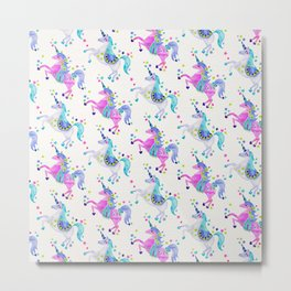 Pastel Unicorns Metal Print