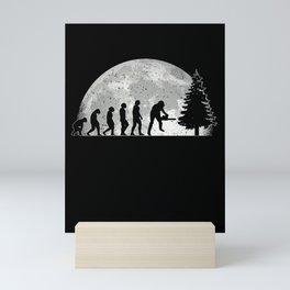 Tree Cutter Evolution Moon Lumberjack Forester Mini Art Print