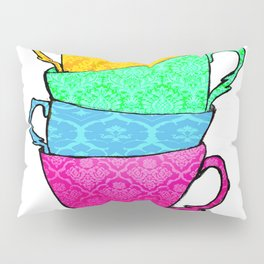 Colourful Patterned Tea Cups Pillow Sham