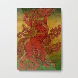 Red Dakini, Nyingmapa Buddhist or Bon Ritual Card Metal Print