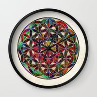 flower of life Wall Clocks featuring Flower of Life variation by Klara Acel