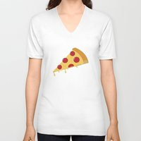 pizza V-neck T-shirts featuring Pizza by brittcorry