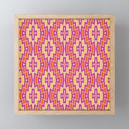 Bohemian Diamond Pattern in Orange, Hot Pink and Yellow Framed Mini Art Print