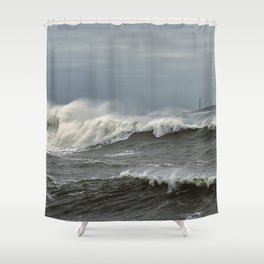 Big waves on the Back shore Shower Curtain