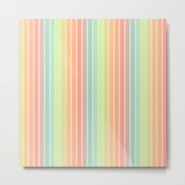 Ribbon Soft Pastel Stripes Metal Print