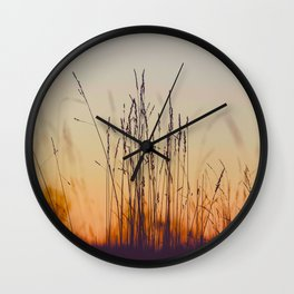 Ambient Colorful Red Orange Sunset With Wheat Silhouette Wall Clock