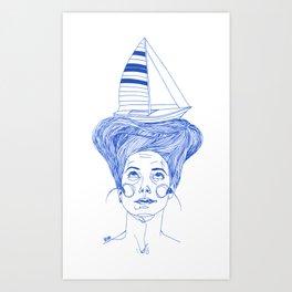 Hairsea blue Art Print