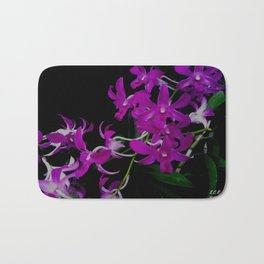 Purple Orchid Flower By Saribelle Rodriguez Bath Mat