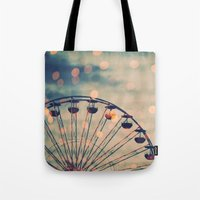 ferris wheel Tote Bags featuring Ferris Wheel by Juste Pixx Photography