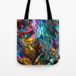 Rainbow Oil Slick Crystal Rock Tote Bag