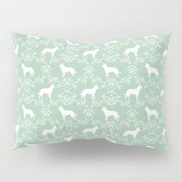 Australian Kelpie dog pattern silhouette mint florals minimal dog breed art gifts Pillow Sham