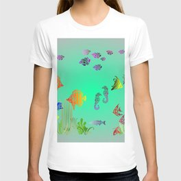 Colored Fish and Seahorse T-shirt