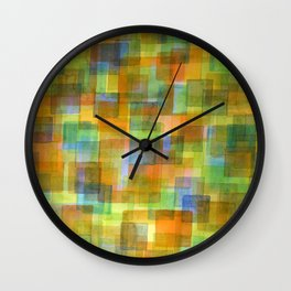 Rug Out Of Orange, Blue And Green Squares  Wall Clock