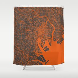 Tokyo Map #2 map orange Shower Curtain