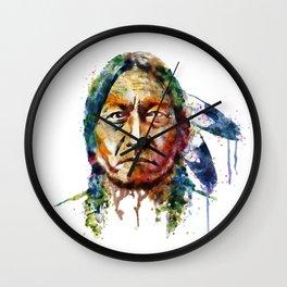 Sitting Bull watercolor painting Wall Clock
