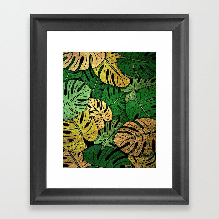 Grunge Monstera Leaves Framed Art Print