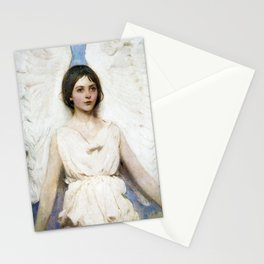Beautiful Angel With White Wings Stationery Cards