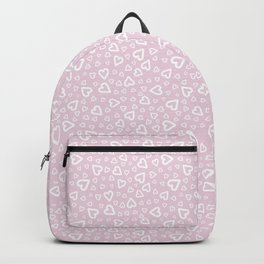 White doodle hearts over pink Backpack