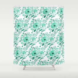 Flower bouquet with poppies - aqua Shower Curtain