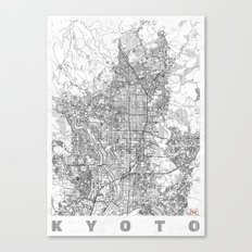 Kyoto Map Line Canvas Print