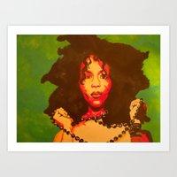 erykah badu Art Prints featuring Erykah Badu  by Paintings That Pop