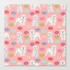 Maltese donuts dog breed funny pet lover dog person pattern print by pet friendly Canvas Print