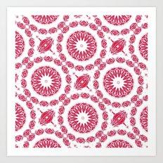 Ruby Mandala Tile Art Print