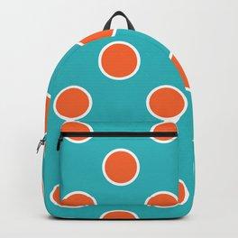 Geometric Orbital Candy Dot Circles - Citrus Orange & Peppermint Blue Backpack