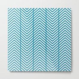 Med Blue Reverse Herringbone Zig Zag Pattern Metal Print