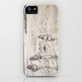 Girls Beach Day Art Drawing iPhone Case