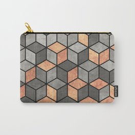 Concrete and Copper Cubes Carry-All Pouch